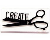 Create Scissors Glass Fridge Magnet, Gift for Sewer or Quilter, Love to Sew (9900)