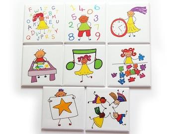 Preschool Homeschool Magnet Set, Set of Eight Magnets, Gift for Kids, Education Aide (10229)