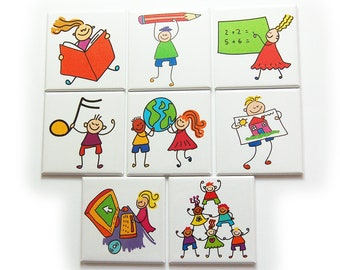 Elementary Homeschool Magnet Set, Set of Eight Magnets, Education Aide, Gift for Kids (10230)