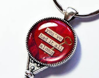 Key to my Heart keychain, Keyring, You've had it all along, Love, gift under 10, Keychain, Large Key, stocking stuffer, gift for her (7810)