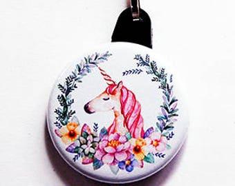 Unicorn Zipper pull, Unicorn Zipper charm, Stocking stuffer, backpack zipper pull, unicorn, pink, gift for girl, gift for child (7639)