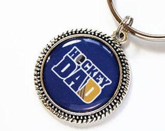 Dad keychain, key chain, key ring, Hockey Dad, hockey, gift for dad, dad key ring, Kids playing hockey, Stocking Stuffer, Fathers Day (2101)