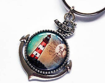 Lighthouse Keychain, keyring, Anchor keychain, stocking stuffer, keychain, Lighthouse key ring, nautical, gift under 10, anchor (7837)
