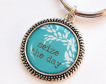 Seize the Day Key Ring, Turquoise and White, Keyring, key chain, stocking stuffer, gift for mom, gift for her, gift for him, under 10 (7654)
