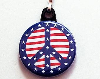 Peace zipper pull, zipper pull, purse charm, peace sign, zipper charm, bottlecap charm, stars and stripes (2611)
