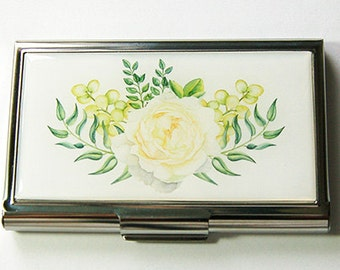Business card holder, Card case for her, Business Card Case, Card case, Floral, flowers, card holder for her, green, yellow (5821)
