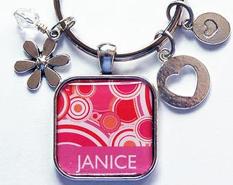 Keychain with name, Keyring for her, Pink, Personalized Keychain, Modern Design, Keychain for women, Gift for her, keyring with name (8504)