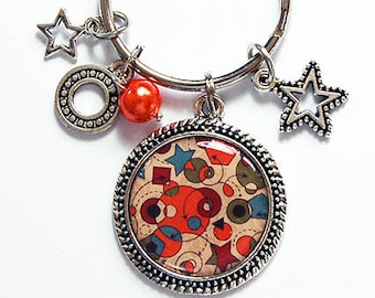 Star Keyring, Keychain, stocking stuffer, keychain with charms, Abstract Design, keychain with stars, keyring with charms, orange (8309)
