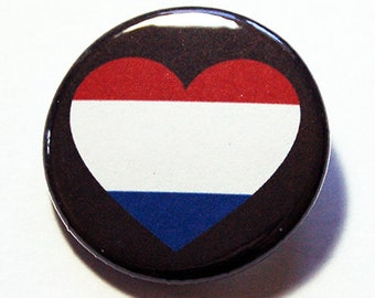 Netherlands Pin, Holland Pin, Pinback buttons, Lapel Pin, I Love Holland, The Netherlands Flag Pin, Dutch Heart Pin, Country Pin (5779)