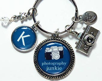 Photography Keyring, Keychain with Charms, Photography Keychain, monogram keychain, stocking stuffer, Blue, photography junkie (8069)