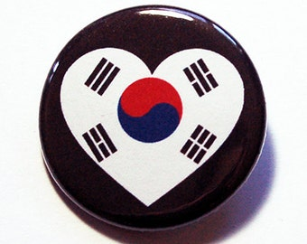 South Korea Pin, Pinback buttons, Lapel Pin, I Love South Korea, South Korean Flag Pin, South Korea Heart Pin, Taegukgi, Country Pin (5774)