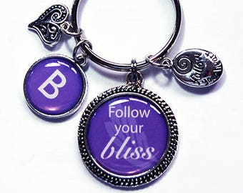 Follow Your Bliss, KeyRing, keychain, Personalized gift, purple, initial, keychain with charms, gift for her, stocking stuffer (2176)