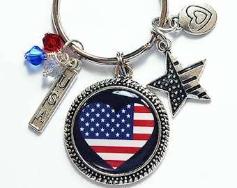 USA Keyring, USA Flag keychain, July 4th, stocking stuffer, keychain with charms, American flag, stars and stripes, keyring charms (8308)