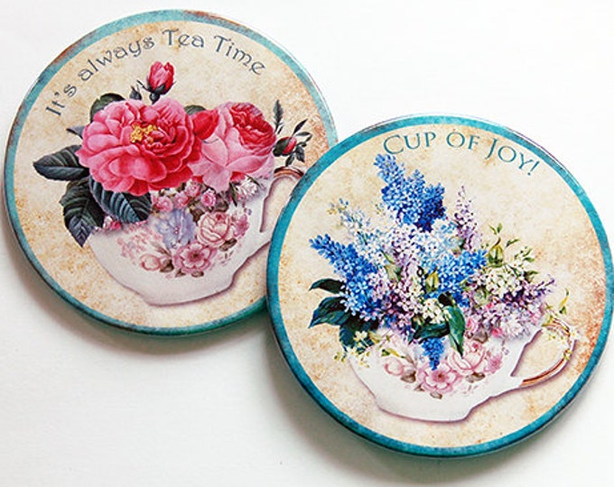 6125b Drink Coasters Tea Drinker Tea Lover Tea Coasters Hostess Gift Coasters Gift for her Stocking Stuffer Tea Cup Coaster
