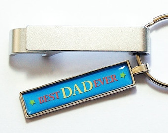 Best Dad Ever Keychain bottle opener, Fathers Day Gift, Keychain with bottle opener, Keyring bottle opener, Blue, Silver (8709)