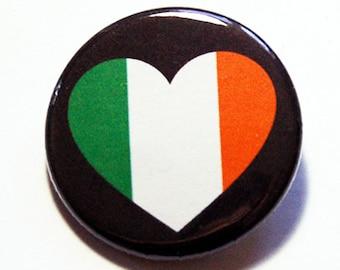 Ireland Pin, Pinback buttons, Lapel Pin, I Love Ireland, Ireland Flag Pin, Irelend Heart Pin, Flag of Ireland, Country Pin (5780)