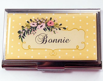 Personalized, card case, Business card holder, Personalized Business Card Case, stainless steel, polka dot, yellow, gift for her (4394)