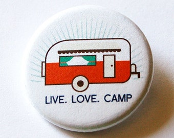 Live Love Camp pin, Camping button, Pinback button, Lapel Pin, Brooch, Loves to camp, Small gift for camper, Camping pin, trailer pin (5723)