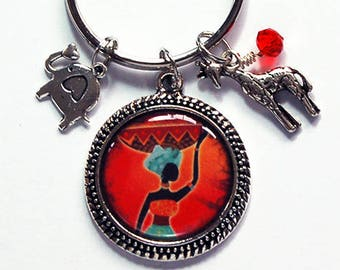 Africa Keyring, key chain, stocking stuffer, gift for her, gift for him, key ring, Kwanzaa gift, Red, Orange, African Design (7665)