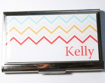 Personalized Business Card Case, Personalized, Chevron, Custom Case, card case, business card holder, Chevron case (3024)