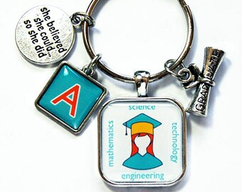 STEM keychain, Monogram keyring, steminist, Keychain for graduate, stocking stuffer, Science, Technology, Mathematics Engineering (7981)