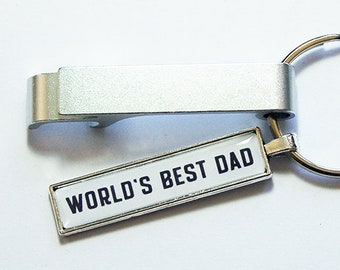 World's Best Dad Keychain bottle opener, Father's Day Gift, Keychain with bottle opener, Keyring bottle opener, Silver Plate (8710)