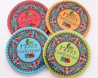 Christmas Coasters, Drink Coasters, Coasters, Hostess Gift, Christmas, Holiday Coasters, Christmas Decor, Christmas Wreath Coasters (6094)
