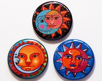 Sun and Moon Magnets, Magnet Trio, Stocking stuffer, Moon and Sun, Colorful Magnets, Strong Magnets, Refridgerator Magnets (8715)