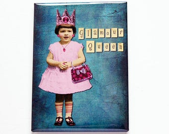 Glamour Queen Magnet, Fridge magnet, ACEO, Magnet, stocking stuffer, Glamour, Loves to dress up, Blue, Pink, Gift for her (7441)