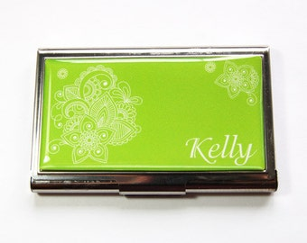 Personalized Business Card Case, card case, Custom Case, green card case, Personalized, business card holder, stainless steel, Green (3183)