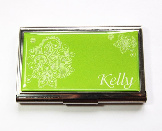 Personalized business card case card case custom case green etsy image 0 colourmoves
