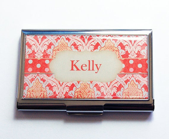 Coque carte de visite personnalisée, cadeau pour elle, Paisley, pois, porte-cartes, porte cartes d'affaires, Orange, cadeau personnalisé, fête des mères (8707)