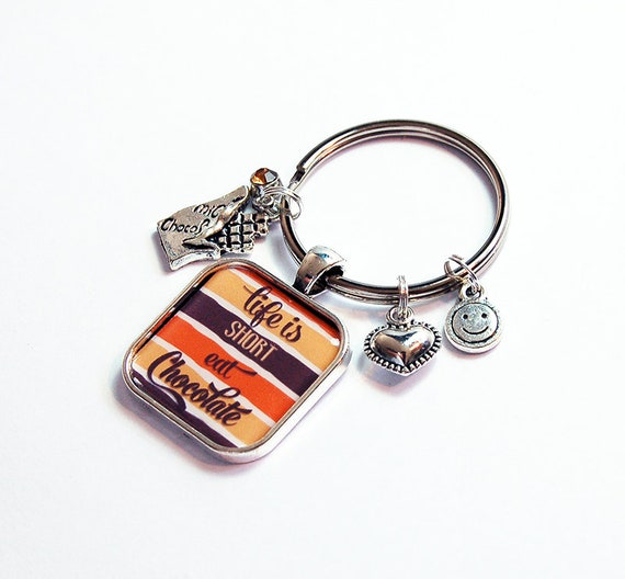 Eat Chocolate Keyring with Charms Keychain for women Gift  6f55279f5