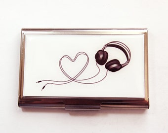 Business Card Case, Music card case, Gift for Music Lover, Music, business card holder, Stainless steel case, Card case (3756)
