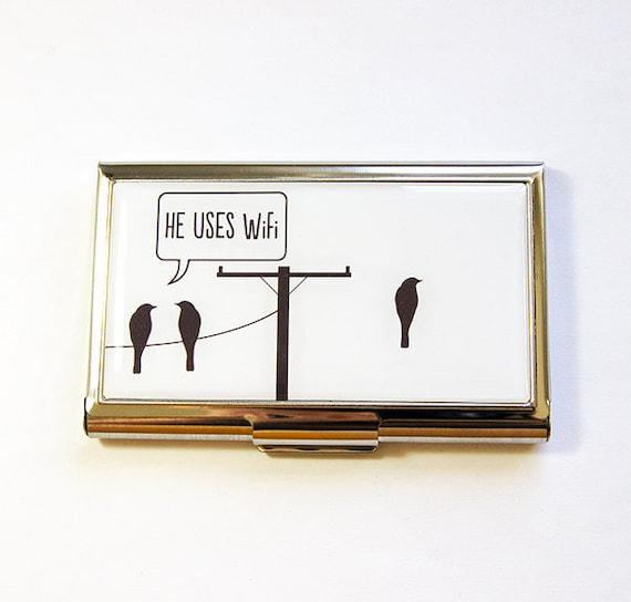 Lustige Karte Visitenkartenetui Visitenkarten Halter Kartenetui Geekery Er Nutzt Wifi Lustige Karte Visitenkartentasche Humor 4876