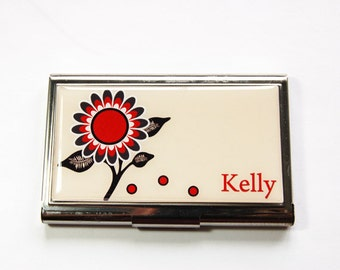 Personalized Business Card Case, card case, Custom Case, Flower card case, Personalized, business card holder, stainless steel case (3184)