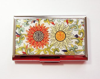 Business card holder, Business Card Case, Card case, Abstract Design, Bright colors, Asian Design, Stainless Steel (4153)