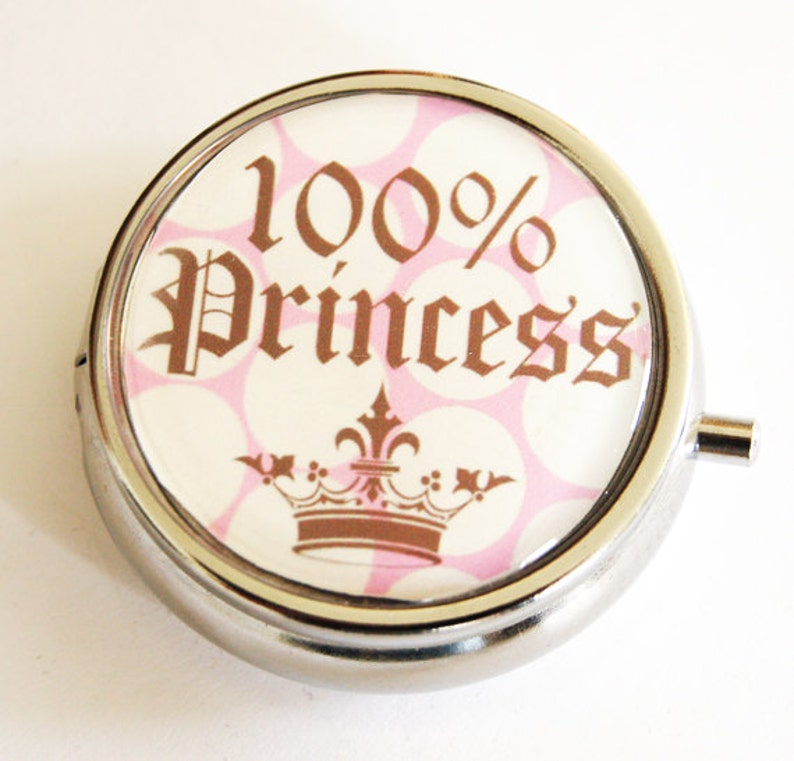 Princess Pill Box Pill Container Gift for her Polka Dots 2135 mint case Pill Case Princess Candy container