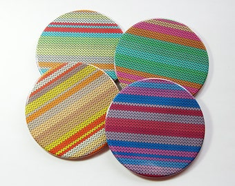 Knitting Coasters, Drink Coasters, Coasters, Tableware, Wine Coasters, Gift for Knitter, Knitting, Striped coasters, Made in Canada (5118)