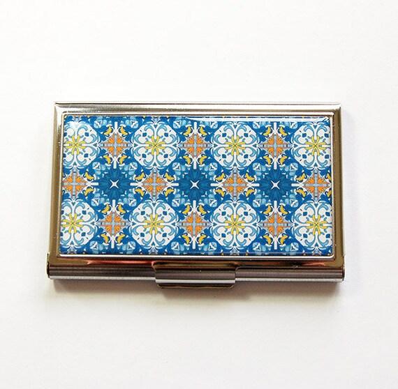 Porte-cartes, porte-cartes, porte cartes d'affaires, porte-cartes pour elle, mosaïque bleue marocain carrelage Design, bleu, (4991)
