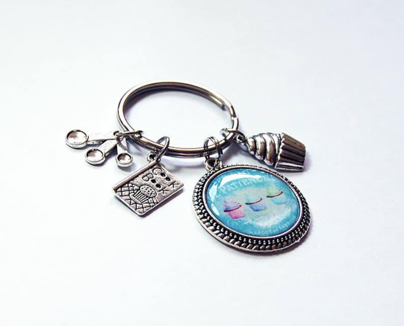 7937 gift under 20 Stocking stuffer key ring Cute Keychain Cupcake Charm blue Cupcake Keychain Keychain for her Cupcake Keyring