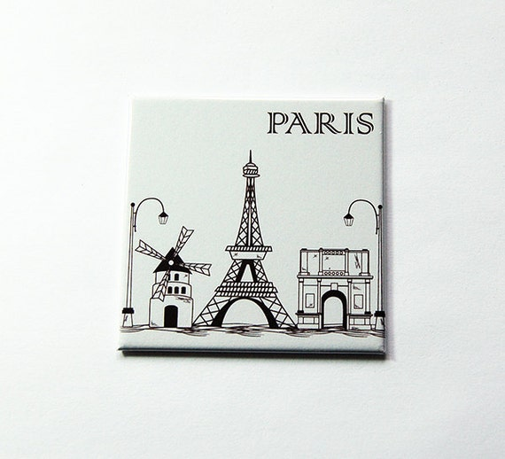 fridge magnet souvenir heart PARIS tower eiffel notre dame france Arch Triumph