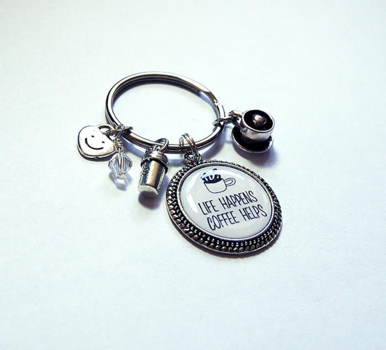 Coffee cup coffee craver Key ring and charms Coffee Key ring Coffee Lovers 7841 Silver Keychain with Charms Coffee Keychain