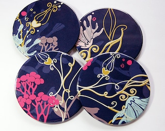 Abstract Flowers, Coasters, Drink Coasters, Purple Coasters, Gift for the Hostess, Set of Coasters, Abstract Design, Purple, Under 20 (5162)