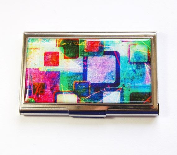Visitenkartenetui Kartenetui Visitenkartenetui Edelstahl Gehäuse Abstraktes Design Helle Farben 2977