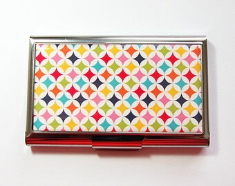 Business card holder, Business Card Case, Card case, Abstract Design, Bright colors, Retro Design, Stainless Steel (4151)