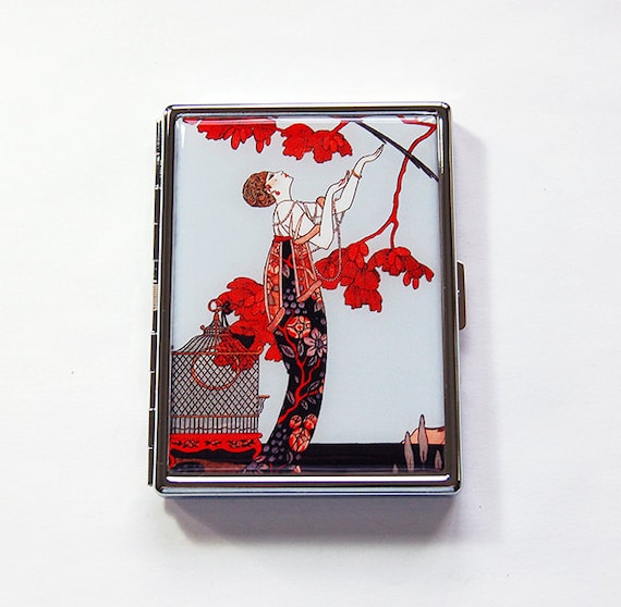 Art Deco Cigarette Case Flapper Cigarette Case Art Nouveaum Slim Cigarette Case Cigarette Holder Cigarette Box Art Deco Red 6025s