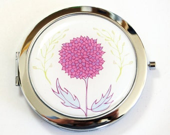 Flower compact mirror, pocket mirror, compact mirror, floral mirror, purse mirror, mirror, flowers (2516)