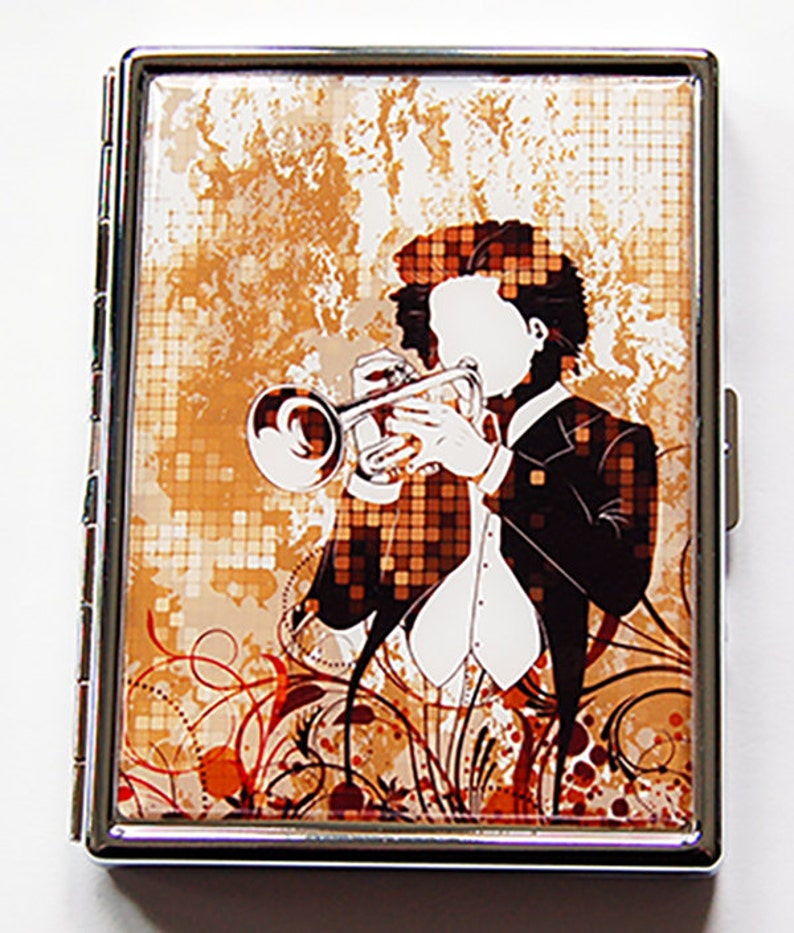 Musician Cigarette Case, Trumpet cigarette case, Slim Cigarette Case,  cigarette case, Metal Wallet Gift for Musician, Trumper player (5926S)