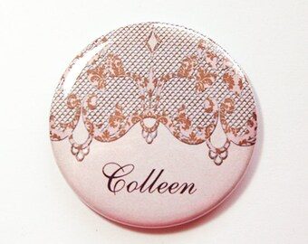 Personalized pocket mirror,purse mirror, pocket mirror, custom mirror, bridesmaid gift, bridal shower favor, personalized gift (4150)